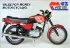 JAWA 632 sales brochure, A4 glossy, reverse has specifications.
