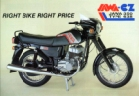 JAWA 638 Mk2 sales brochure, A4 glossy, reverse has specifications.