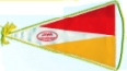 JAWA pennant, red & yellow on white, approx 160mm long x 100mm wide max. Probably 1960's/1970's era.