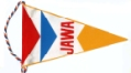 JAWA pennant, red, blue & yellow on white, approx 160mm long x 100mm wide max. Probably 1960's/1970's era.
