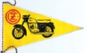 Pennant printed CZ one side JAWA on reverse, black and red on yellow, 125mm wide x 155mm long.