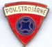 POV.STROJARNE long pin badge, red and blue enamel, approx 16 x 15mm