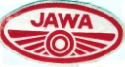 JAWA waterslide transfer, red on white, 1960's era, approx 68 x 36 mm.