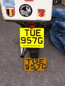 New motorcycle number plate